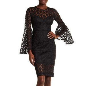 Alexia Admor black size 6 lace bell sleeve dress